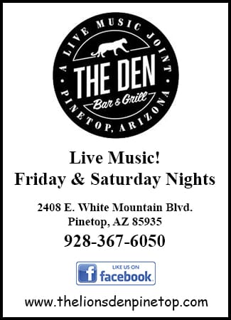The Lion's Den Pinetop home page ad (image)